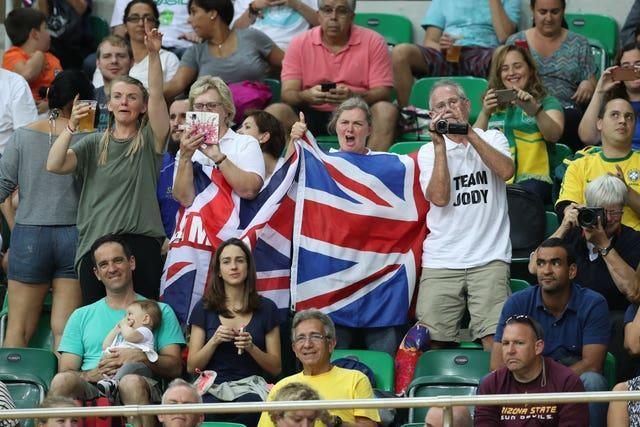 Jody Cundy's parents, in white polo shirts, have followed their son's sporting career all over the world
