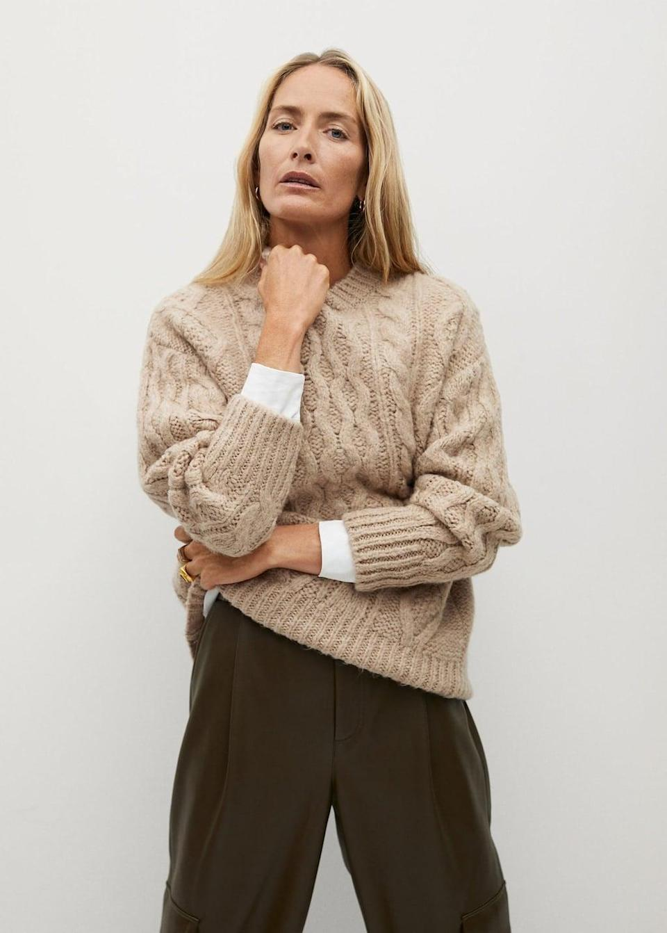 <p>You'll look great in this <span>Cable-Knit Sweater</span> ($50, originally $80). Wear it with some slouchy brown pants.</p>