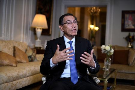 Peruvian President Martin Vizcarra speaks during an interview with Reuters on the sidelines of the United Nations General Assembly in New York City, U.S. September 24, 2018. REUTERS/Darren Ornitz