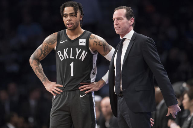 "<a class=""link rapid-noclick-resp"" href=""/nba/teams/brooklyn/"" data-ylk=""slk:Brooklyn Nets"">Brooklyn Nets</a> head coach Kenny Atkinson talks to D'Angelo Russell during first-round NBA playoff series, Saturday, April 20, 2019, in New York. (AP)"