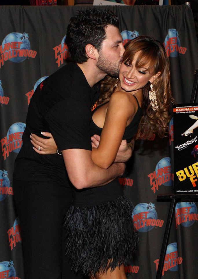"""<b>Maksim Chmerkovskiy & Karina Smirnoff</b><br><br>The sexy fellow Ukrainians knew each other for about 15 years as friends before they found themselves single at the same time. They started dating in the summer of 2008, and six months later they were engaged. The engagement ended after nine months, in September 2009, right after their Broadway debut in """"Burn the Floor."""" However, they danced together at the Emmys that year, and now they dance in the same studio every week. Is there any tension? If there is, they clearly know how to dance it off!"""