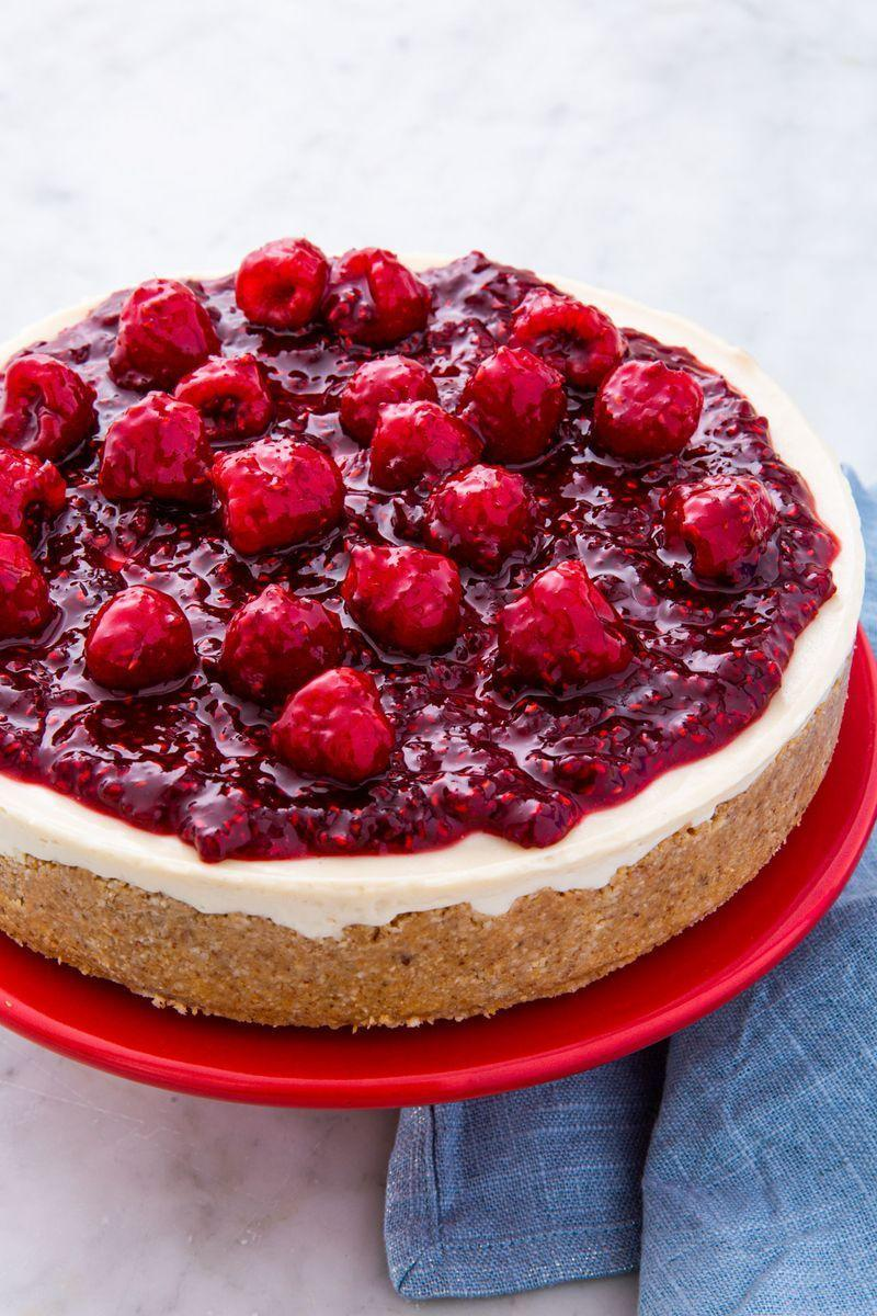 """<p>This cake is downright magic. A vegan cheesecake that tastes shockingly smooth, creamy, and rich. The secret is soaked cashews! If you don't have enough time to soak in cold water overnight, there's shortcut: soak for 2 hours in a big bowl of boiling water.</p><p>Get the <a href=""""https://www.delish.com/uk/cooking/recipes/a30266087/vegan-cheesecake-recipe/"""" rel=""""nofollow noopener"""" target=""""_blank"""" data-ylk=""""slk:Vegan Cheesecake"""" class=""""link rapid-noclick-resp"""">Vegan Cheesecake</a> recipe. </p>"""