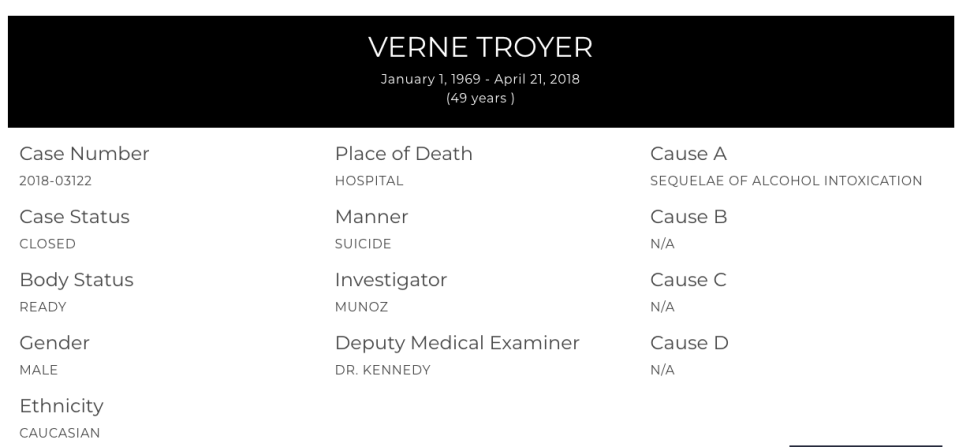 The coroner's report on Verne Troyer. (Image: lacounty.gov)