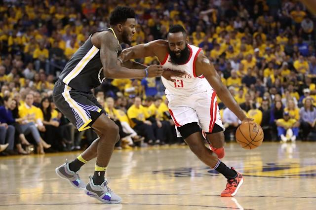 James Harden of the Houston Rockets drives past Jordan Bell of the Golden State Warriors during the 2018 NBA Playoffs in Oakland, California (AFP Photo/EZRA SHAW)