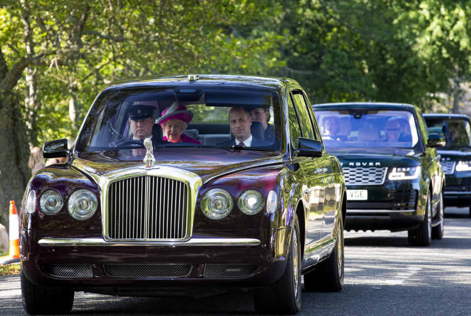 Prince William travelled up front on the way to Crathie Kirk Church [Image: Getty]