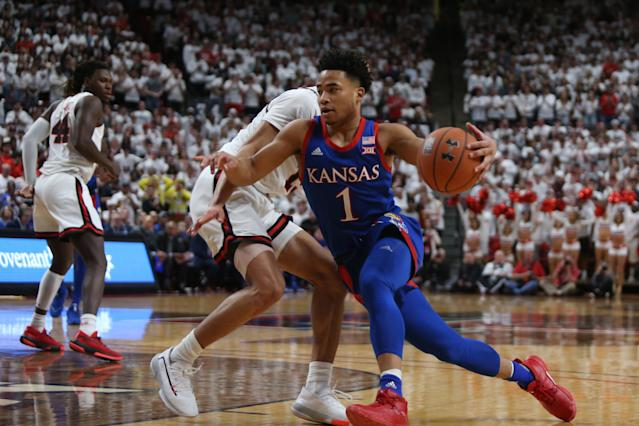 Kansas guard Devon Dotson drives to the basket against Texas Tech on March 7. (Michael C. Johnson/USA TODAY Sports)