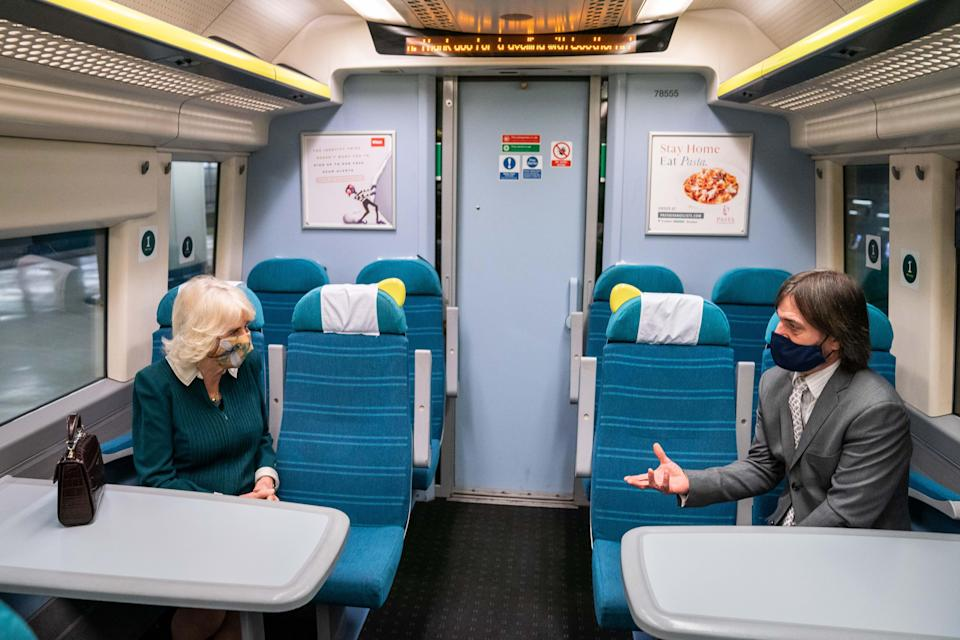 Camilla chats to Darren about his Rail to Refuge scheme (Southeastern/PA)