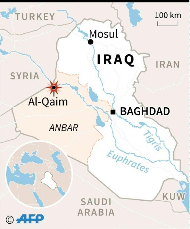 Map locating Al-Qaim in Iraq, where Iraqi troops launched an assault on the last Islamic State group bastion in the country