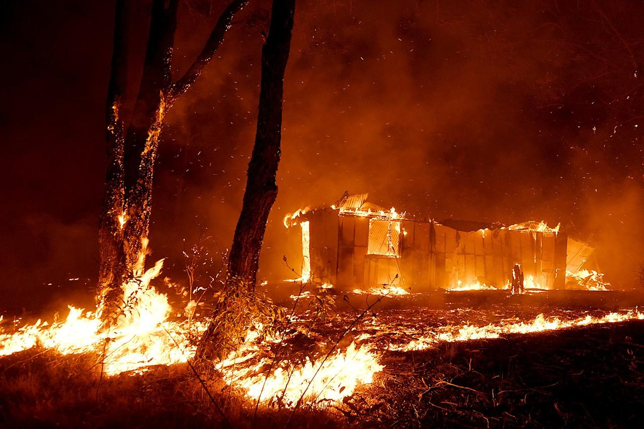 Bushfires destroy properties in the township of Hillville on the Mid North Coast of NSW, Nov. 12, 2019.
