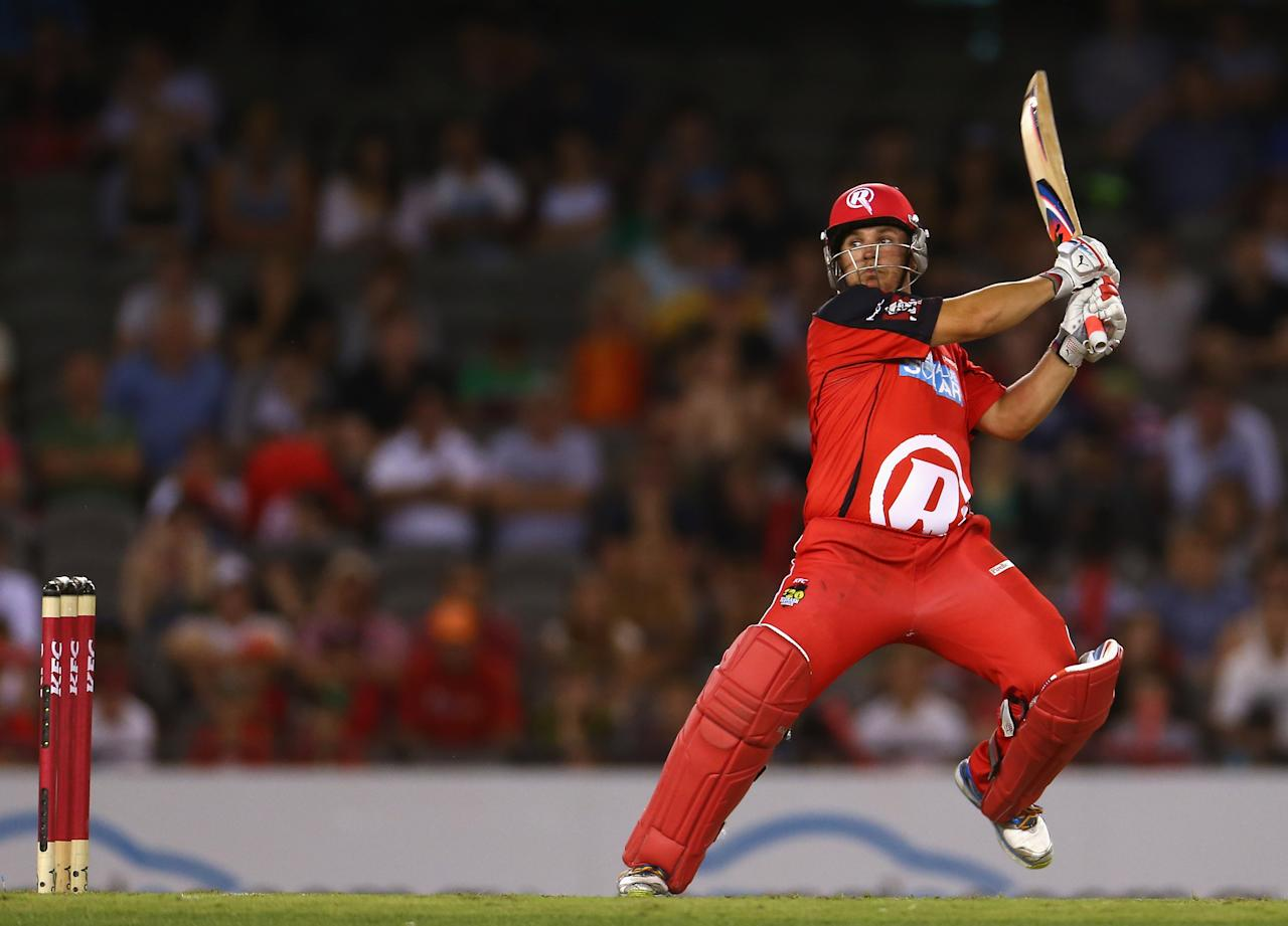 MELBOURNE, AUSTRALIA - JANUARY 15:  Aaron Finch of the Renegades bats during the Big Bash League Semi-Final match between the Melbourne Renegades and the Brisbane Heat at Etihad Stadium on January 15, 2013 in Melbourne, Australia.  (Photo by Robert Cianflone/Getty Images)