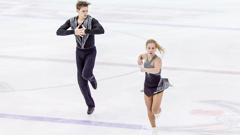Ekaterina Alexandrovskaya and Harley Windsor, pictured here at the Riga Cup ISU Junior Grand Prix in 2017.