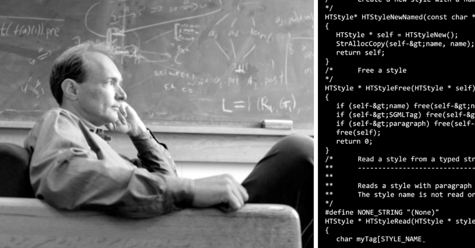 Sir Tim Berners-Lee and the source code he wrote for the creation of the World Wide Web.