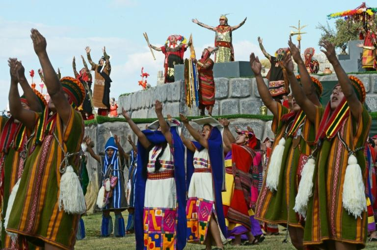 Actors perform in a recreation during the Inti Raymi or Sun Festival at the Sacsahuaman fortress compound in the hills above the Andean city of Cuzco