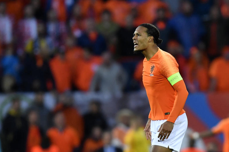 Netherlands' Virgil Van Dijk gestures during the UEFA Nations League semifinal soccer match between Netherlands and England at the D. Afonso Henriques stadium in Guimaraes, Portugal, Thursday, June 6, 2019. (AP Photo/Martin Meissner)