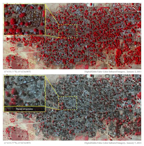 Satellite images from January 2, 2015 (top) and January 7, 2015 believed to show the scale of last week's attack on Doron Baga in northeast Nigeria by Boko Haram Islamist militants. The red objects show structures and tree cover. (AFP Photo/Micah Farfour)