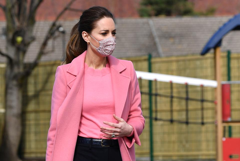 Catherine, Duchess of Cambridge visits School 21 in Stratford on March 11, 2021 in London, England. The Duke and Duchess of Cambridge visited the school in east London to congratulate teachers involved in the re-opening of the school following lockdown restrictions.