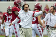 Alabama head coach Nick Saban yells to his team during the first half of an NCAA college football game against Western Carolina, Saturday, Nov. 23, 2019, in Tuscaloosa, Ala. (AP Photo/Vasha Hunt)