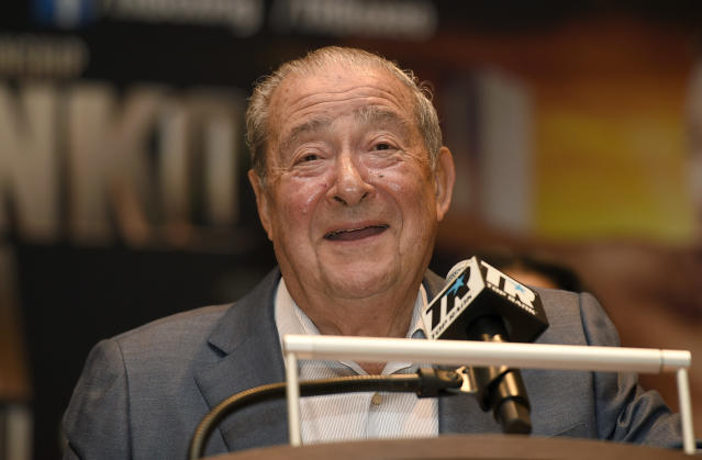FILE - This is an April 6, 2017, file photo showing boxing promoter Bob Arum speaking at a boxing press conference in Oxon Hill, Md. Arum says he plans to stage a card of five fights on June 9 at the MGM Grand. It's the first of a series of fights over the next two months at the Las Vegas hotel. A second fight card will be held two nights later. ESPN will televise both cards to kick off twice weekly shows at the hotel in June and July. The fights are pending approval of the Nevada Athletic Commission.(AP Photo/Nick Wass, File)