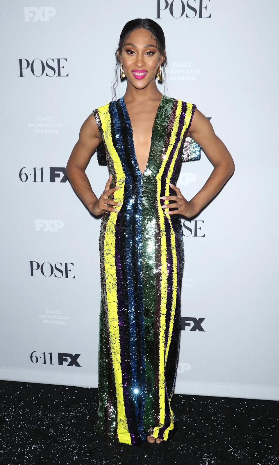 <p>Mj opted for all the sequins and statement earrings from Swati Dhanak at the <b>Pose</b> season two NYC premiere in 2019.</p>