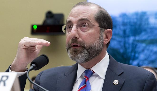 US Department of Health and Human Services Secretary Alex Azar testifies before a House Energy and Commerce subcommittee hearing on Wednesday. Photo: EPA-EFE