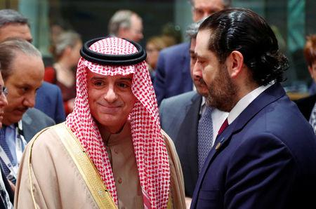Saudi Arabia's Minister of State for Foreign Affairs Adel al-Jubeir and Lebanese Prime Minister Saad Al-Hariri attend an international peace and donor conference for Syria, at the European Union Council in Brussels, Belgium March 14, 2019.  REUTERS/Francois Lenoir