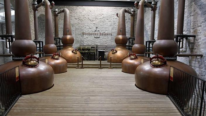 A visualization of how the six copper pot stills will look once they are installed at Woodford Reserve once the expansion is complete. The three on the right are the original stills and the new ones will go on the left.