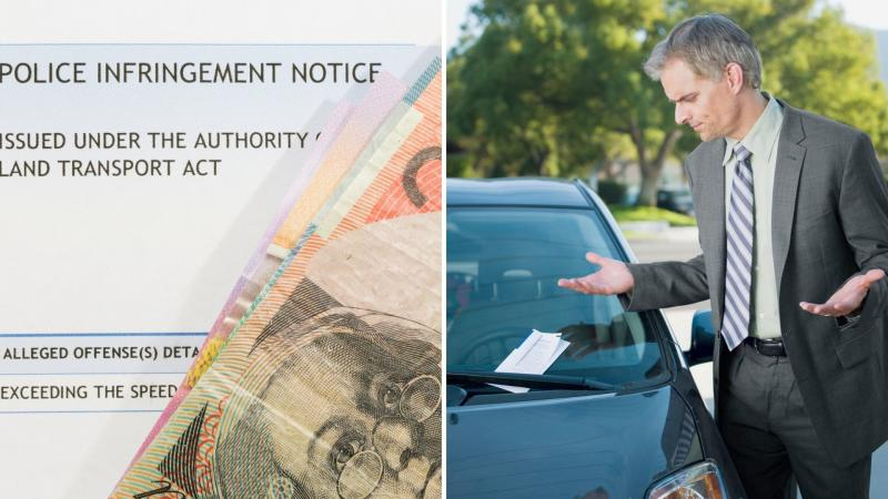 A penalty notice and Australian bank notes on the left, a man with arms raised in exasperation while looking at a ticket on his car windshield.