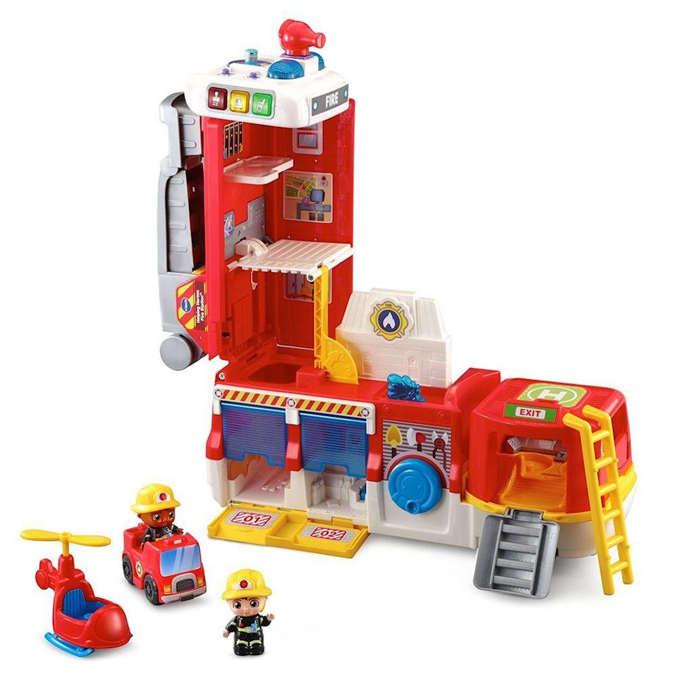 """<p><strong>VTech</strong></p><p>walmart.com</p><p><strong>$29.82</strong></p><p><a href=""""https://go.redirectingat.com?id=74968X1596630&url=https%3A%2F%2Fwww.walmart.com%2Fip%2F309731746&sref=https%3A%2F%2Fwww.bestproducts.com%2Fparenting%2Fg34074265%2Fwalmart-top-toys-of-2020%2F"""" rel=""""nofollow noopener"""" target=""""_blank"""" data-ylk=""""slk:Shop Now"""" class=""""link rapid-noclick-resp"""">Shop Now</a></p><p>From fire truck to firehouse and back again, your kiddo will feel like a real life hero. Equipped with all of the fire truck essentials, like a hose, ladder, and mini firefighters, each rescue mission will be completed successfully when your little one is on duty. After the mission is complete, the fire truck transforms into a firehouse that the tiny characters can kick back and relax in.<br></p>"""