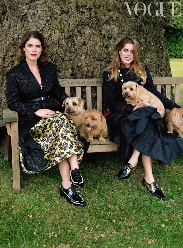 "<p>The gorgeous royal siblings posed with some furry friends while wearing some seriously high fashion threads in the September issue of British Vogue.<br /><br />Twenty eight-year-old Princess Eugenie told the mag that she ""wasn't stressed at all"" about her upcoming Oct. 12 wedding to fiancée, Jack Brooksbank.<br /><br />Image via Twitter. Photograph by Sean Thomas. </p>"