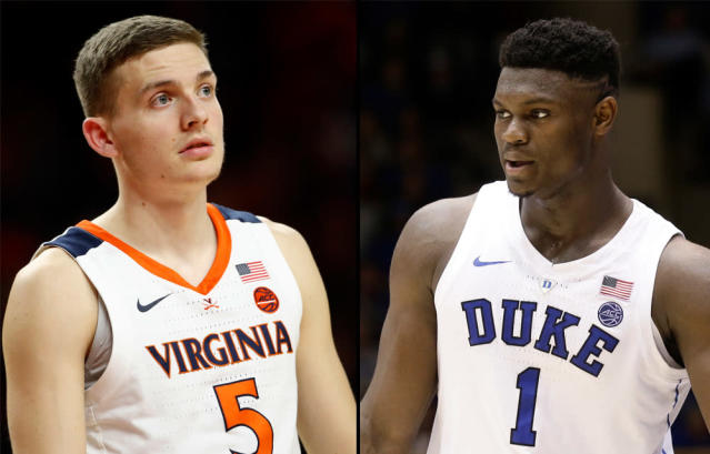 "Virginia's Kyle Guy (L) and Duke's <a class=""link rapid-noclick-resp"" href=""/ncaab/players/147096/"" data-ylk=""slk:Zion Williamson"">Zion Williamson</a> will meet at Cameron Indoor Stadium on Saturday. (AP)"
