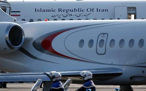 An Iranian government plane is seen on the tarmac at Biarritz airport in Anglet on Sunday - Credit: REUTERS/Regis Duvignau