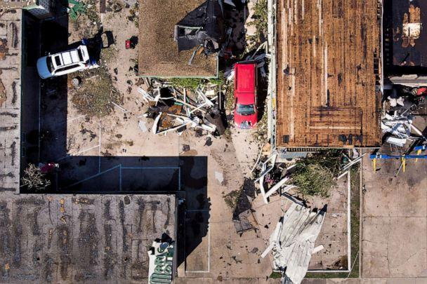 PHOTO: In this aerial view, a storm damaged motel is seen in the aftermath of Hurricane Michael on Oct. 11, 2018 in Panama City, Fla. (Brendan Smialowski/AFP via Getty Images, FILE)