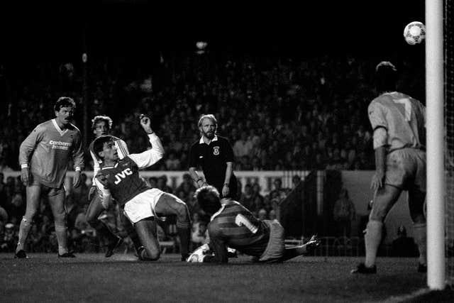 Alan Smith, centre left, scores Arsenal's second goal in the 3-0 win over Bournemouth in October 1987