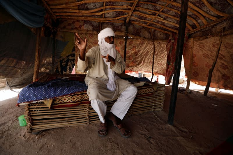 Silymane Hiyan Hiyar, 53, an ex-rebel and leading member of the peace committee, speaks during an interview with journalists at his home in Agadez