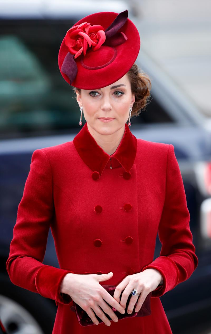 Catherine, Duchess of Cambridge attends the Commonwealth Day Service 2020 at Westminster Abbey on March 9, 2020 in London, England. The Commonwealth represents 2.4 billion people and 54 countries, working in collaboration towards shared economic, environmental, social and democratic goals. (