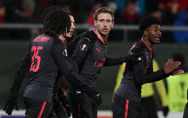 Soccer Football - Europa League Round of 32 First Leg - Ostersunds FK vs Arsenal - Jamtkraft Arena, Ostersund, Sweden - February 15, 2018 Arsenal's Nacho Monreal celebrates scoring their first goal with teammates Action Images via Reuters/Peter Cziborra