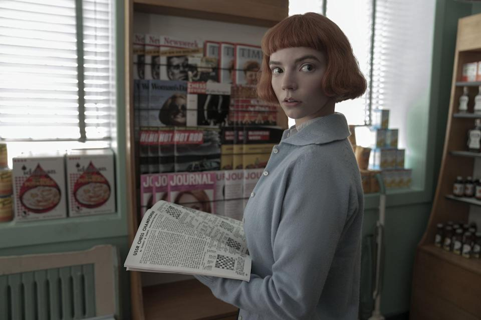 <p>Beth's blunt micro bangs and bob haircut is super recognizable. Get the look with the <span>Beth Harmon Wig QG Short Brown Curly</span> ($28).</p>