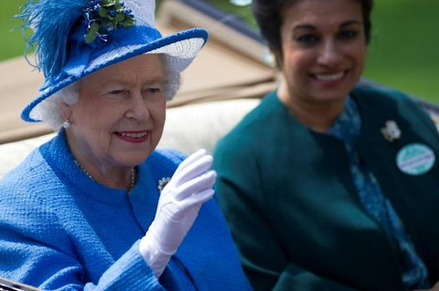 Queen Elizabeth II will like all spectators have to watch Royal Ascot on television the first time she will have missed it since assuming the throne in 1952 (AFP Photo/CARL COURT)