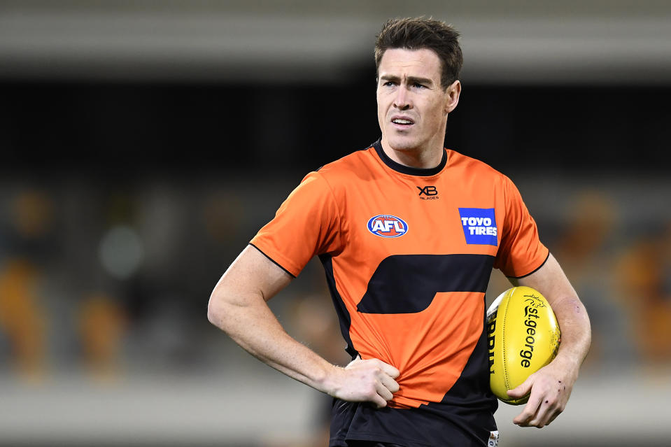 Jeremy Cameron of the Giants looks on during the round 17 AFL match between the Greater Western Sydney Giants and the Melbourne Demons at The Gabba on September 12, 2020 in Brisbane, Australia.