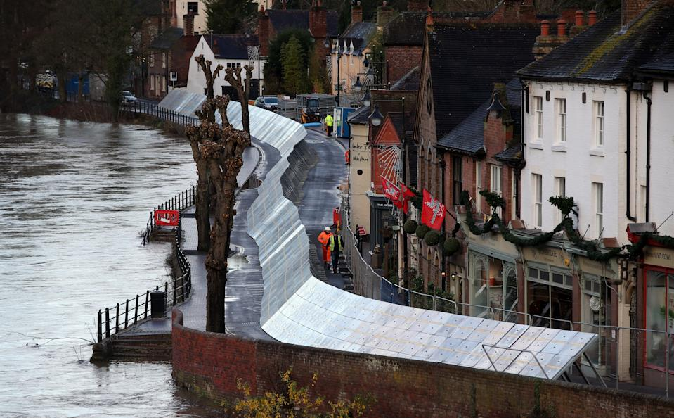 Flood defences have been installed in Ironbridge, Shropshire, ahead of Storm Bella. (Photo by Nick Potts/PA Images via Getty Images)