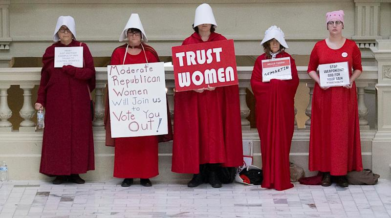 A group of pro-abortion rights demonstrators the 35th legislative day at the Georgia state Capitol building in downtown Atlanta, Friday, March 22, 2019. (Photo: Alyssa Pointer/Atlanta Journal-Constitution via AP)
