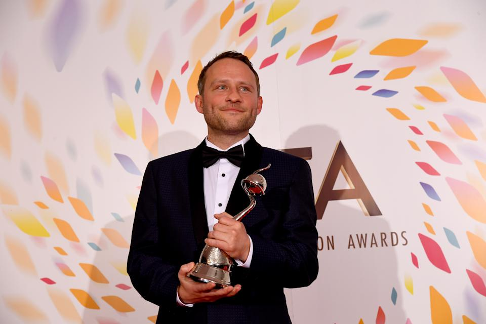 LONDON, ENGLAND - JANUARY 28: Peter Ash wins the Best Newcomer Award at the National Television Awards 2020 at The O2 Arena on January 28, 2020 in London, England. (Photo by Dave J Hogan/Getty Images)