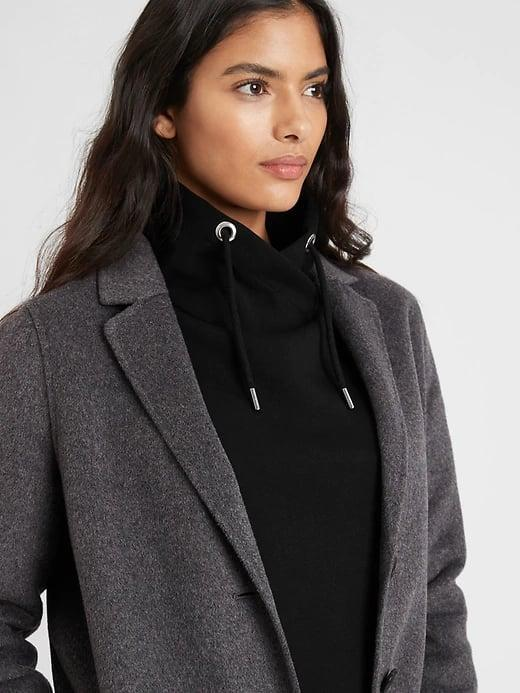 <p>We didn't think to style this chic <span>Banana Republic Funnel-Neck Sweatshirt</span> ($55) under a blazer but now it's all we want to do.</p>