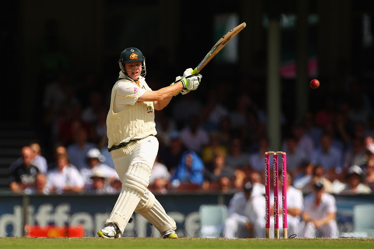 SYDNEY, AUSTRALIA - JANUARY 07: Steven Smith of Australia bats during day five of the Fifth Ashes Test match between Australia and England at Sydney Cricket Ground on January 7, 2011 in Sydney, Australia.  (Photo by Cameron Spencer/Getty Images)