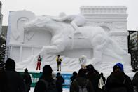 A lack of snow and warming temperatures have made Sapporo's snow festival tricky this year, but it has still produced some fantastic sculptures