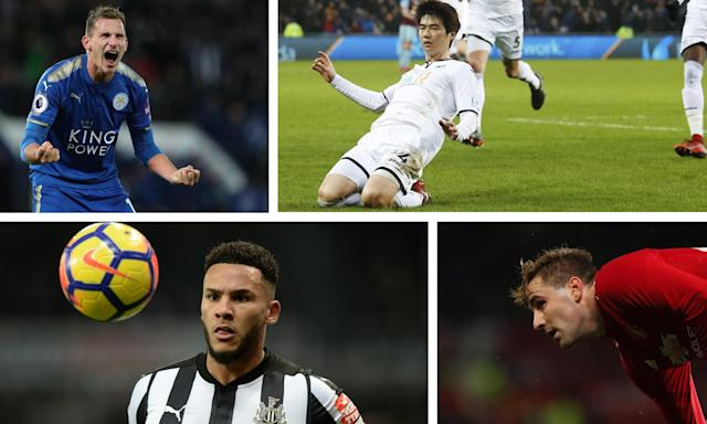 Clockwise: Leicester's Marc Albrighton, Swansea's Ki Sung-yueng, Manchester United's Luke Shaw and Newcastle's Jamaal Lascelles.