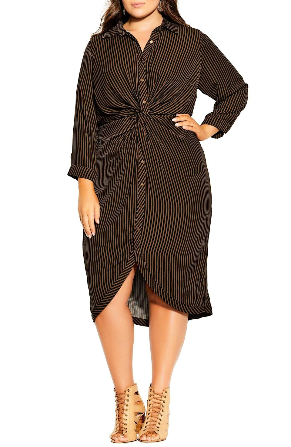 <p>You'll look and fell good in this figure-sculpting <span>City Chic Twisted Stripe Long Sleeve Shirtdress</span> ($99).</p>