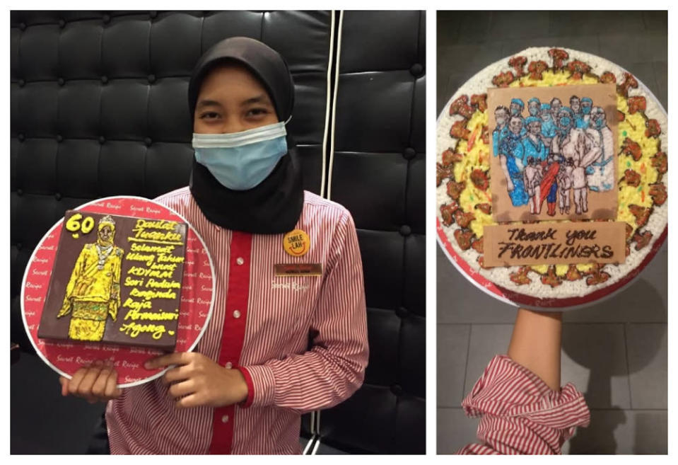 Nurul Aina showing her cake decorations with images of Raja Permaisuri Agong, frontliners. — Picture via Twitter/@wafanorsyazana