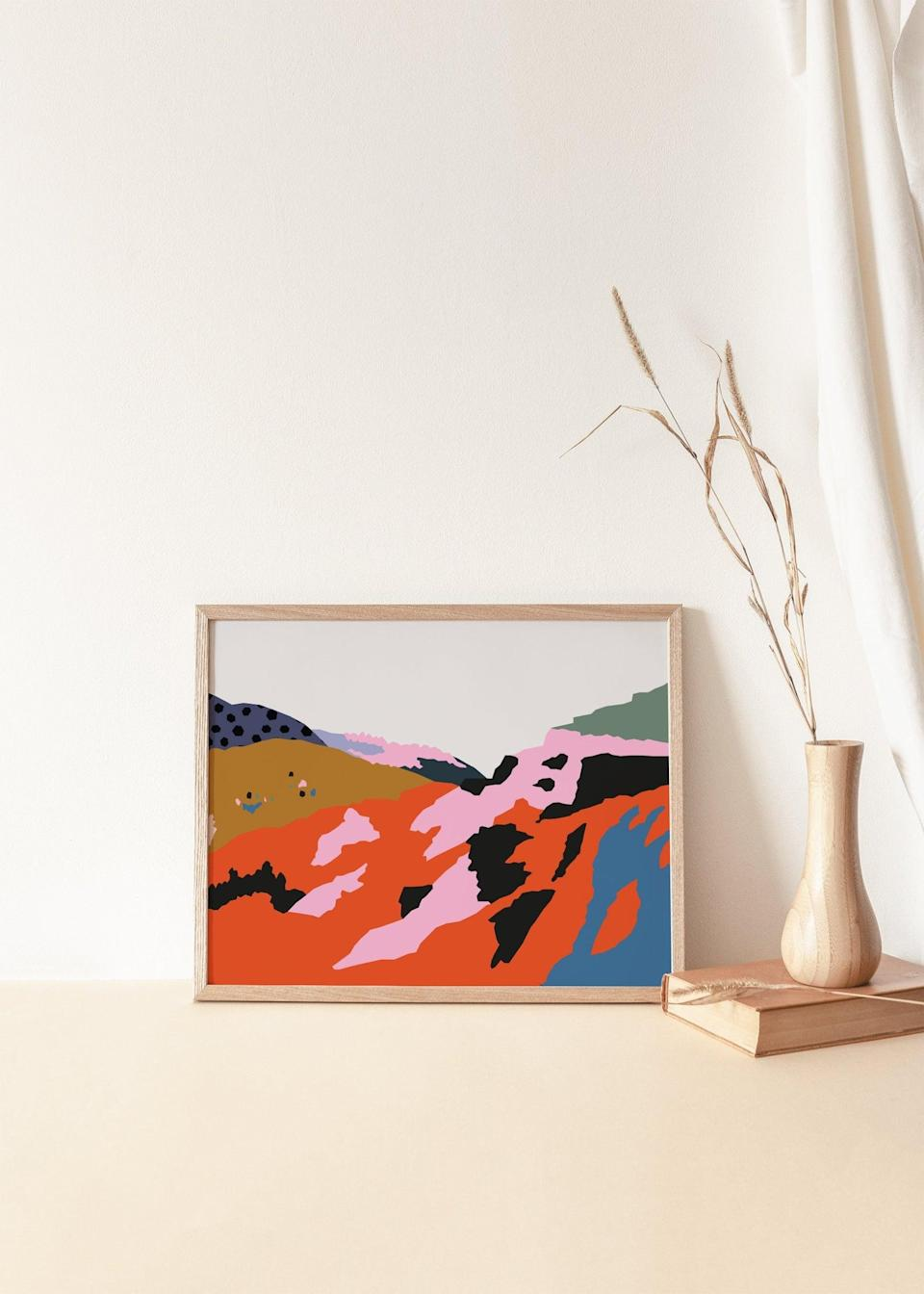<p>If they're drawn to bold art prints, get the <span>Emma Make Studio Ethiopian African Hills Abstract Artwork</span> ($19).</p>