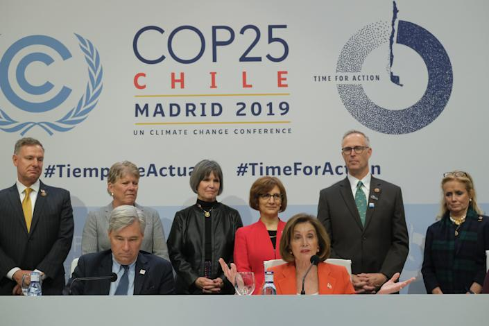 House Speaker Nancy Pelosi discusses climate change at the United Nations conference in Madrid on Dec. 2, 2019.